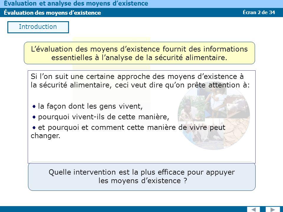 Écran 2 de 34 Évaluation et analyse des moyens dexistence Évaluation des moyens dexistence Introduction Quelle intervention est la plus efficace pour