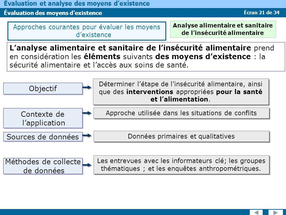 Écran 21 de 34 Évaluation et analyse des moyens dexistence Évaluation des moyens dexistence Lanalyse alimentaire et sanitaire de linsécurité alimentai