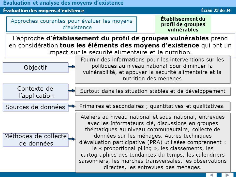 Écran 23 de 34 Évaluation et analyse des moyens dexistence Évaluation des moyens dexistence Lapproche détablissement du profil de groupes vulnérables