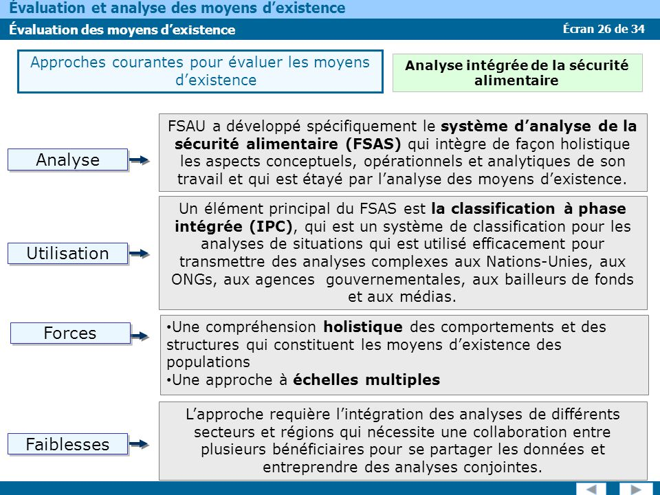 Écran 26 de 34 Évaluation et analyse des moyens dexistence Évaluation des moyens dexistence Approches courantes pour évaluer les moyens dexistence FSA