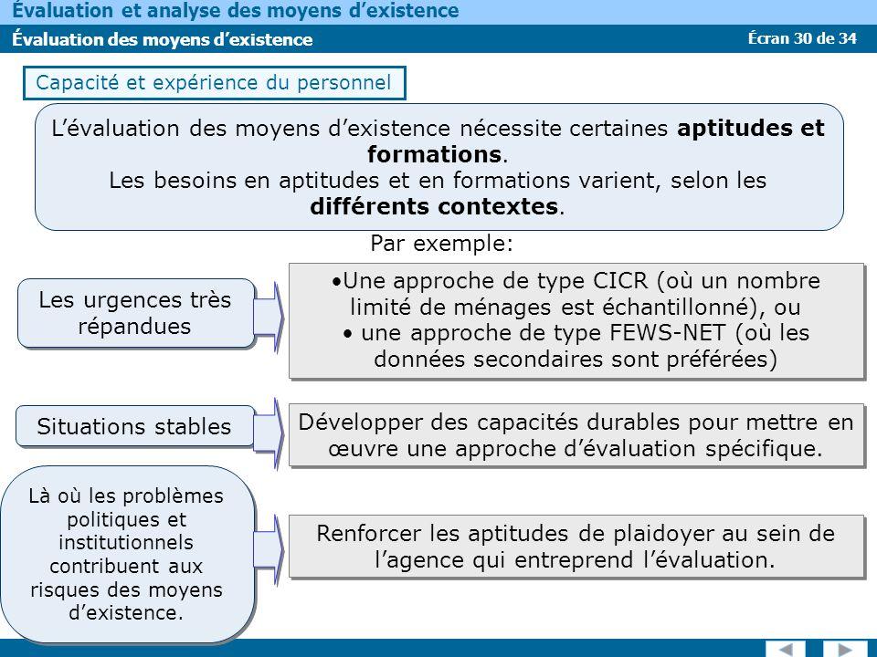 Écran 30 de 34 Évaluation et analyse des moyens dexistence Évaluation des moyens dexistence Capacité et expérience du personnel Par exemple: Lévaluati