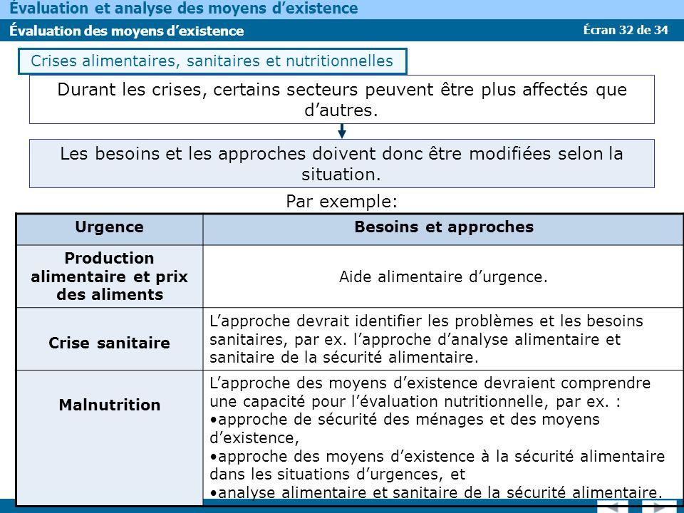 Écran 32 de 34 Évaluation et analyse des moyens dexistence Évaluation des moyens dexistence Crises alimentaires, sanitaires et nutritionnelles Durant