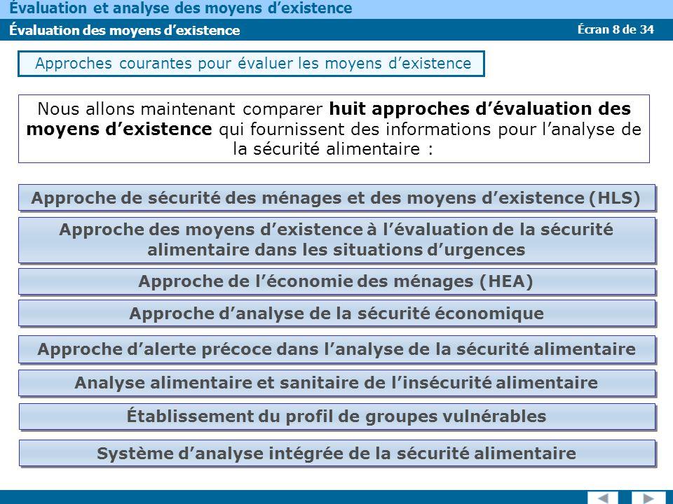 Écran 8 de 34 Évaluation et analyse des moyens dexistence Évaluation des moyens dexistence Approches courantes pour évaluer les moyens dexistence Nous