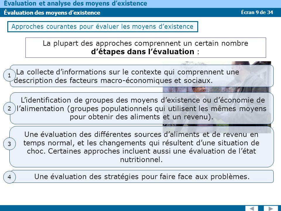 Écran 9 de 34 Évaluation et analyse des moyens dexistence Évaluation des moyens dexistence Approches courantes pour évaluer les moyens dexistence La p