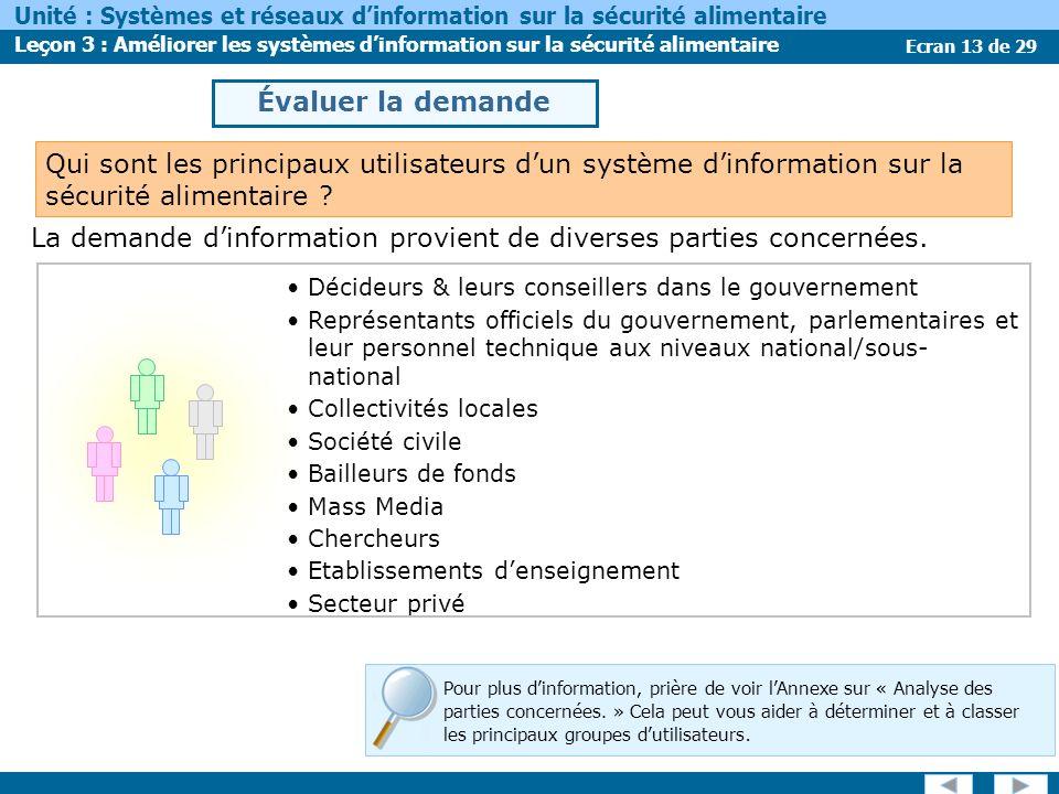 Ecran 13 de 29 Unité : Systèmes et réseaux dinformation sur la sécurité alimentaire Leçon 3 : Améliorer les systèmes dinformation sur la sécurité alimentaire Pour plus dinformation, prière de voir lAnnexe sur « Analyse des parties concernées.