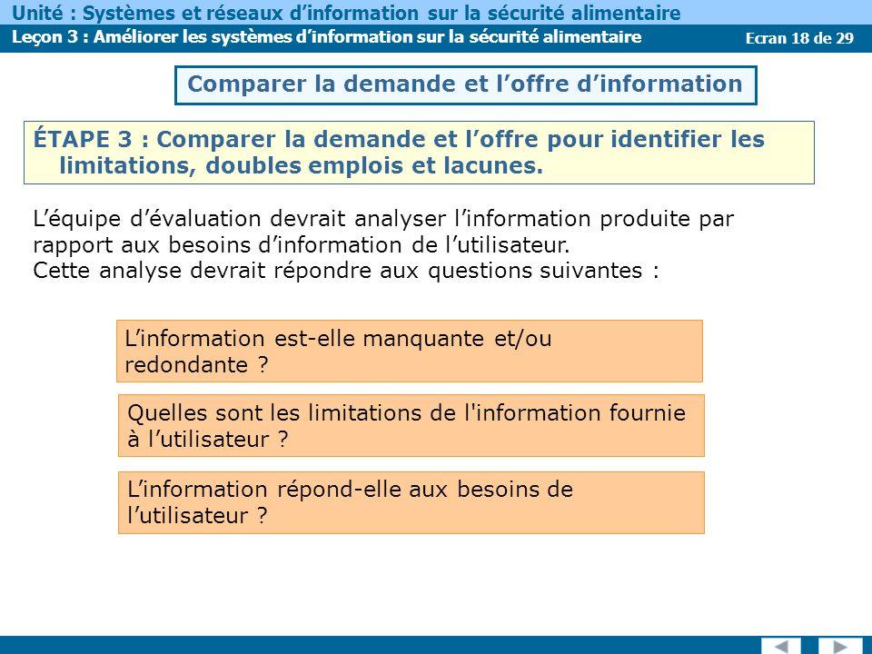 Ecran 18 de 29 Unité : Systèmes et réseaux dinformation sur la sécurité alimentaire Leçon 3 : Améliorer les systèmes dinformation sur la sécurité alim