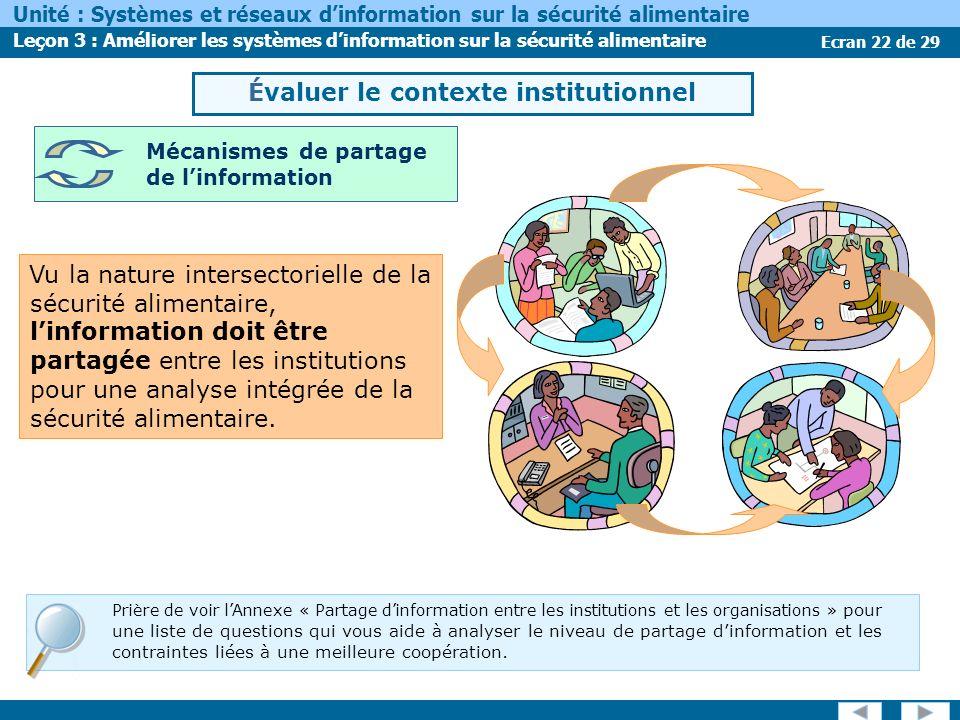 Ecran 22 de 29 Unité : Systèmes et réseaux dinformation sur la sécurité alimentaire Leçon 3 : Améliorer les systèmes dinformation sur la sécurité alimentaire Vu la nature intersectorielle de la sécurité alimentaire, linformation doit être partagée entre les institutions pour une analyse intégrée de la sécurité alimentaire.