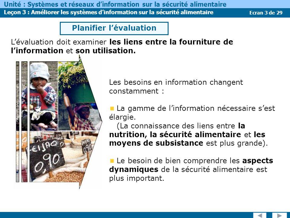 Ecran 3 de 29 Unité : Systèmes et réseaux dinformation sur la sécurité alimentaire Leçon 3 : Améliorer les systèmes dinformation sur la sécurité alimentaire Les besoins en information changent constamment : La gamme de linformation nécessaire sest élargie.