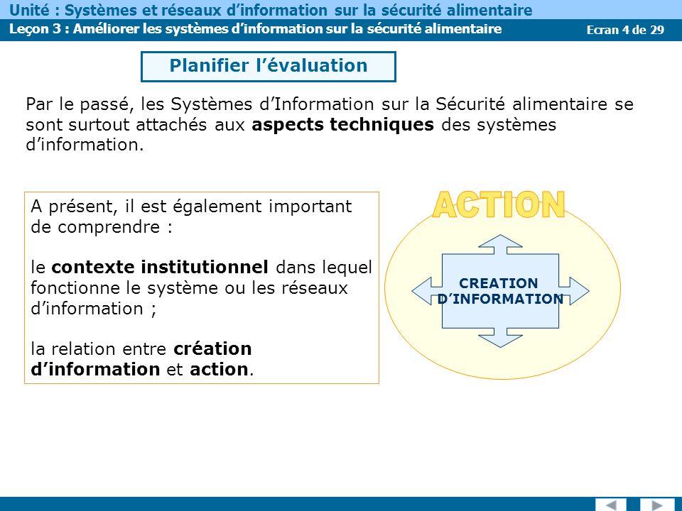 Ecran 4 de 29 Unité : Systèmes et réseaux dinformation sur la sécurité alimentaire Leçon 3 : Améliorer les systèmes dinformation sur la sécurité alime