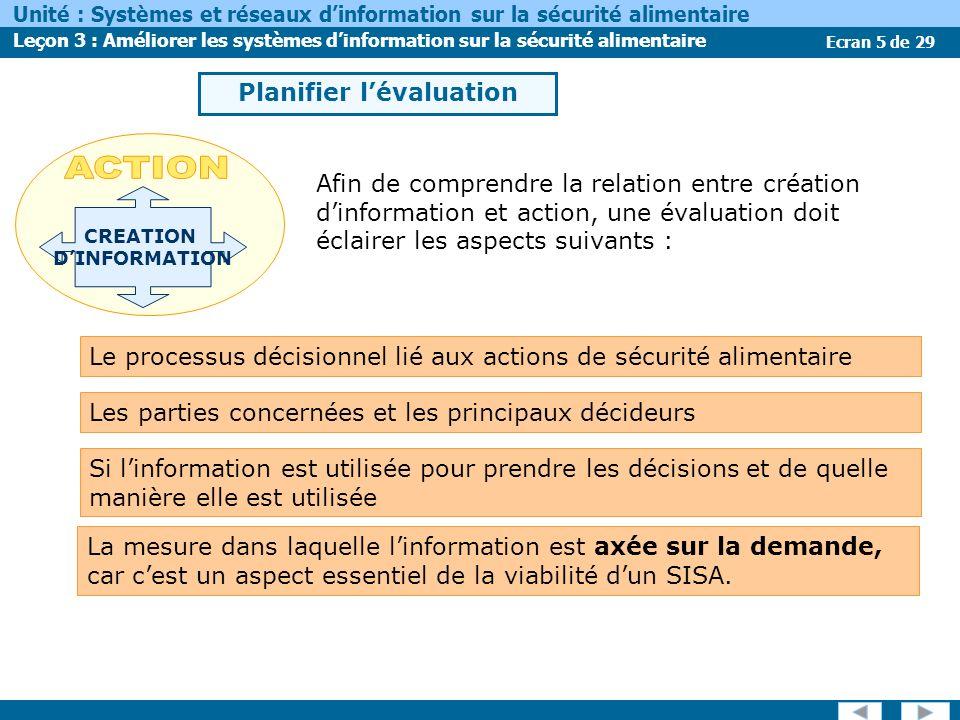 Ecran 5 de 29 Unité : Systèmes et réseaux dinformation sur la sécurité alimentaire Leçon 3 : Améliorer les systèmes dinformation sur la sécurité alime