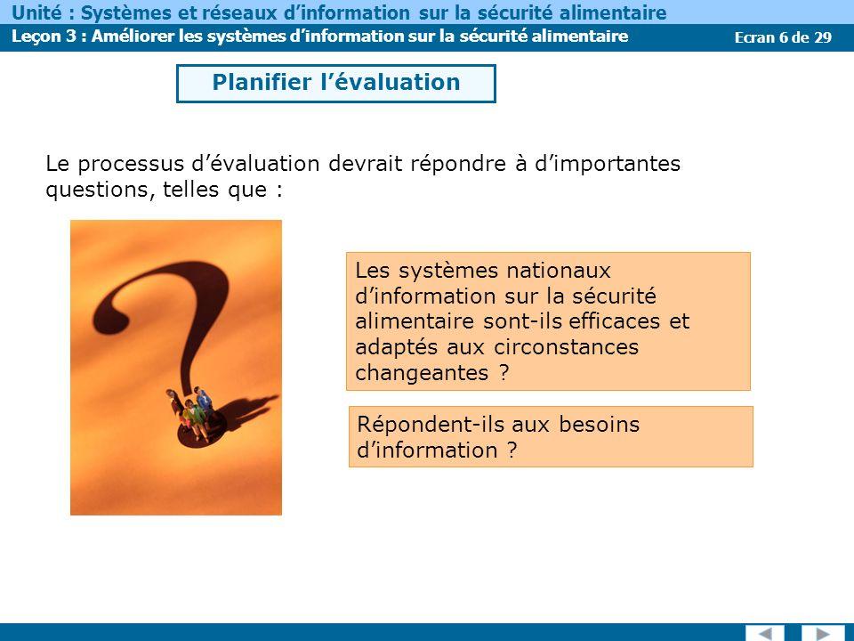 Ecran 6 de 29 Unité : Systèmes et réseaux dinformation sur la sécurité alimentaire Leçon 3 : Améliorer les systèmes dinformation sur la sécurité alime