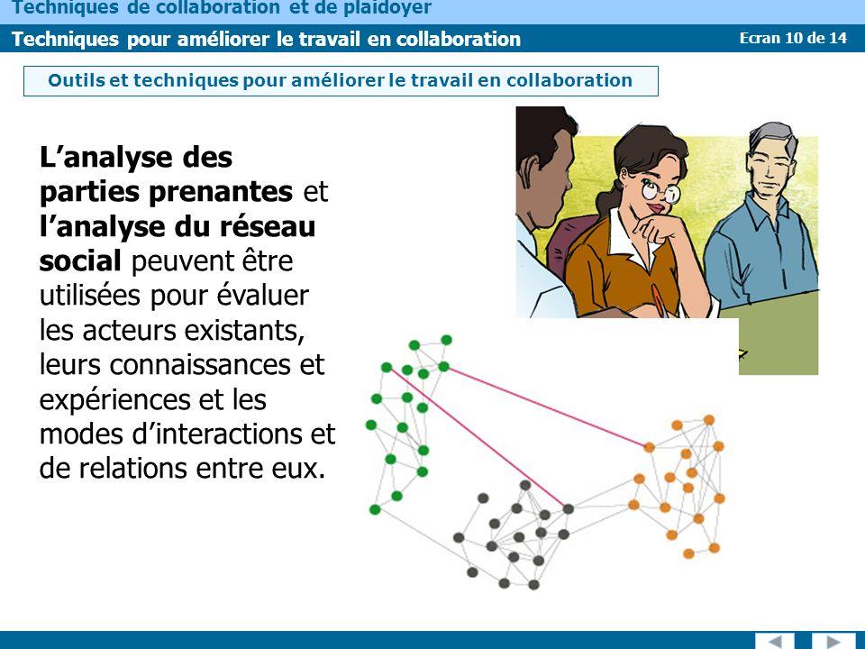 Ecran 10 de 14 Techniques de collaboration et de plaidoyer Techniques pour améliorer le travail en collaboration Lanalyse des parties prenantes et lanalyse du réseau social peuvent être utilisées pour évaluer les acteurs existants, leurs connaissances et expériences et les modes dinteractions et de relations entre eux.