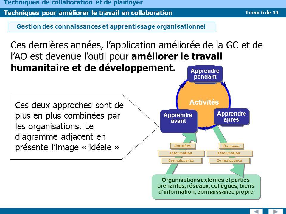 Ecran 6 de 14 Techniques de collaboration et de plaidoyer Techniques pour améliorer le travail en collaboration Ces dernières années, lapplication améliorée de la GC et de lAO est devenue loutil pour améliorer le travail humanitaire et de développement.