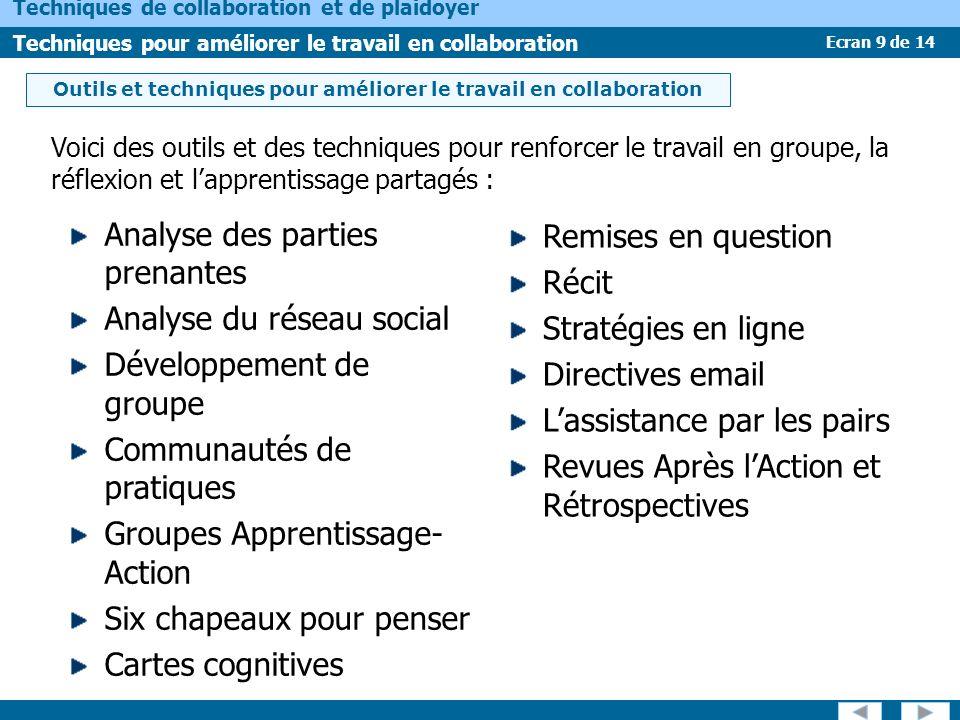 Ecran 9 de 14 Techniques de collaboration et de plaidoyer Techniques pour améliorer le travail en collaboration Outils et techniques pour améliorer le