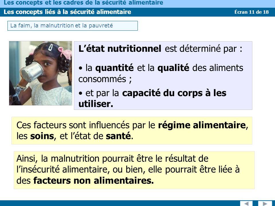 Écran 11 de 18 Les concepts et les cadres de la sécurité alimentaire Les concepts liés à la sécurité alimentaire Ainsi, la malnutrition pourrait être le résultat de linsécurité alimentaire, ou bien, elle pourrait être liée à des facteurs non alimentaires.
