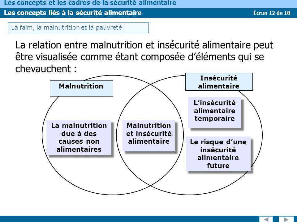 Écran 12 de 18 Les concepts et les cadres de la sécurité alimentaire Les concepts liés à la sécurité alimentaire La relation entre malnutrition et insécurité alimentaire peut être visualisée comme étant composée déléments qui se chevauchent : Insécurité alimentaire Malnutrition et insécurité alimentaire Malnutrition et insécurité alimentaire La malnutrition due à des causes non alimentaires La malnutrition due à des causes non alimentaires Le risque dune insécurité alimentaire future Le risque dune insécurité alimentaire future Linsécurité alimentaire temporaire Linsécurité alimentaire temporaire La faim, la malnutrition et la pauvreté