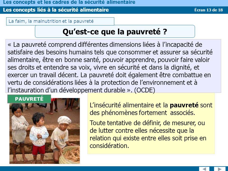 Écran 13 de 18 Les concepts et les cadres de la sécurité alimentaire Les concepts liés à la sécurité alimentaire « La pauvreté comprend différentes di