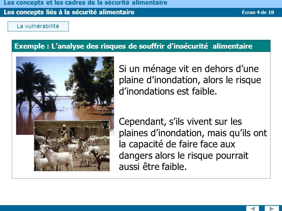 Écran 4 de 18 Les concepts et les cadres de la sécurité alimentaire Les concepts liés à la sécurité alimentaire Si un ménage vit en dehors dune plaine dinondation, alors le risque dinondations est faible.