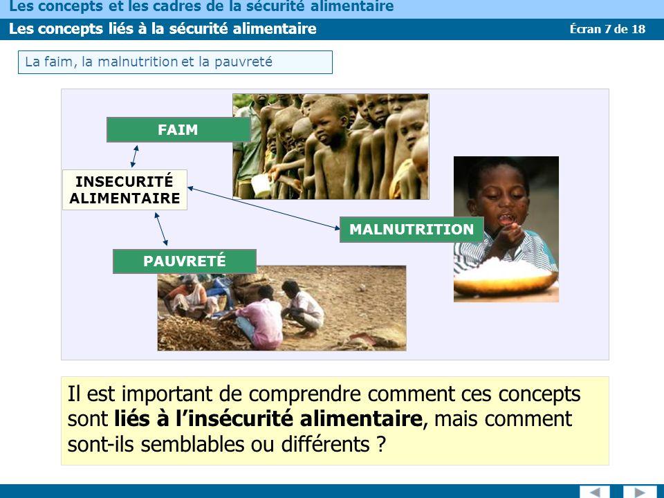 Écran 7 de 18 Les concepts et les cadres de la sécurité alimentaire Les concepts liés à la sécurité alimentaire La faim, la malnutrition et la pauvreté FAIM PAUVRETÉ INSECURITÉ ALIMENTAIRE MALNUTRITION Il est important de comprendre comment ces concepts sont liés à linsécurité alimentaire, mais comment sont-ils semblables ou différents ?