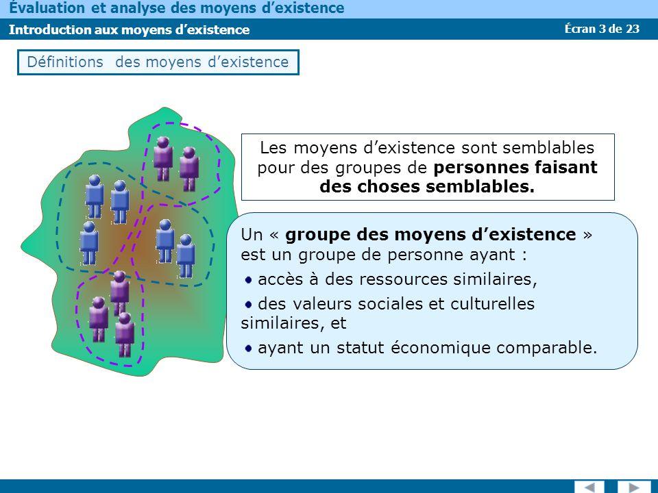 Écran 3 de 23 Évaluation et analyse des moyens dexistence Introduction aux moyens dexistence Les moyens dexistence sont semblables pour des groupes de personnes faisant des choses semblables.