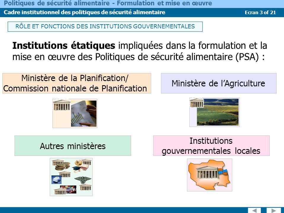 Ecran 4 of 21 Politiques de sécurité alimentaire - Formulation et mise en œuvre Cadre institutionnel des politiques de sécurité alimentaire Intégrer les questions de PSA aux politiques et stratégies nationales et sectorielles de développement.