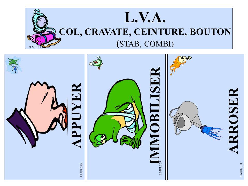 ARROSER R.MULLER APPUYER L.V.A. COL, CRAVATE, CEINTURE, BOUTON ( STAB, COMBI) R.MULLER IMMOBILISER R.MULLER