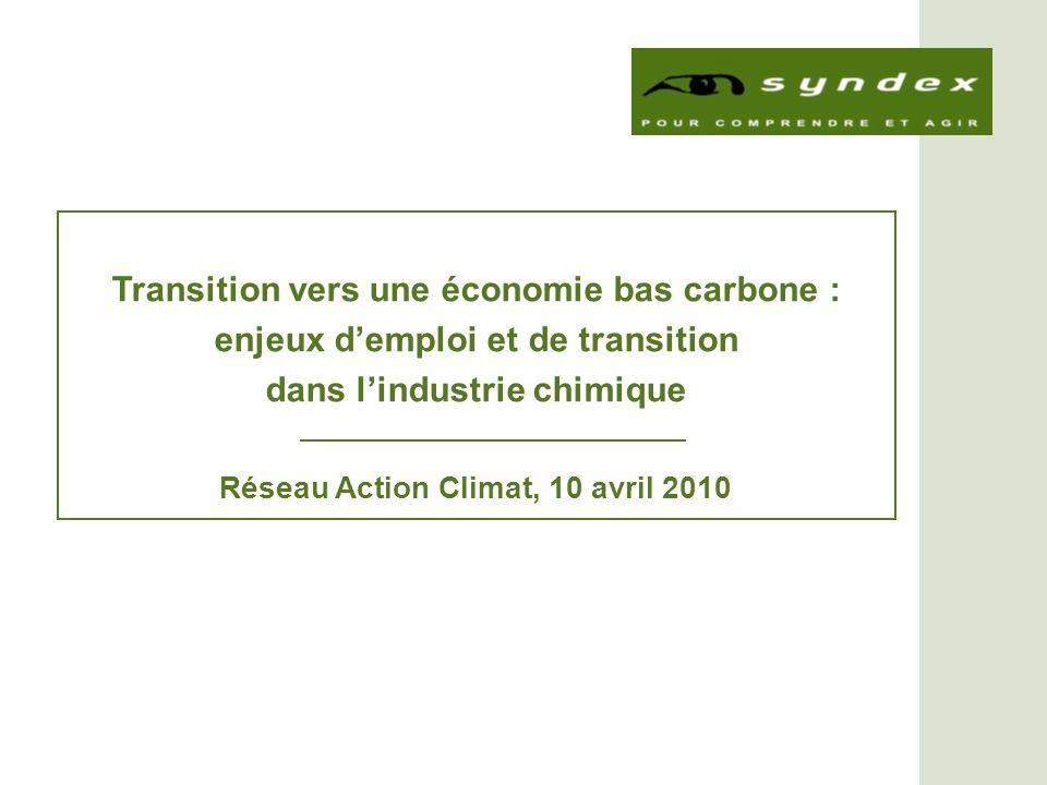 Réseau Action Climat – 10 avril 2010 La chimie avec ses diverses composantes est le secteur industriel le plus énergétivore et le 3 e secteur industriel émetteur de CO 2 (2,4 Gt démissions CO 2 en 2005) Lindustrie chimique contribue de manière conséquente aux changements climatiques en étant responsable de 16 % des émissions mondiales de GES dorigine industrielle (4 % toutes origines confondues).
