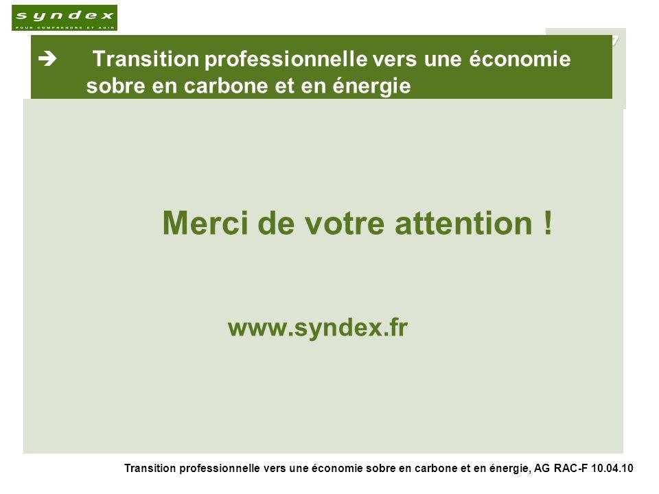 Transition professionnelle vers une économie sobre en carbone et en énergie, AG RAC-F 10.04.10 17 Transition professionnelle vers une économie sobre en carbone et en énergie Merci de votre attention .