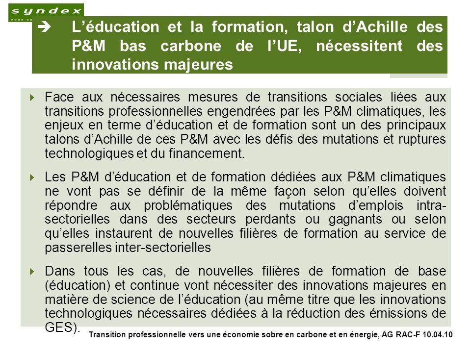 Transition professionnelle vers une économie sobre en carbone et en énergie, AG RAC-F 10.04.10 8 Léducation et la formation, talon dAchille des P&M bas carbone de lUE, nécessitent des innovations majeures Face aux nécessaires mesures de transitions sociales liées aux transitions professionnelles engendrées par les P&M climatiques, les enjeux en terme déducation et de formation sont un des principaux talons dAchille de ces P&M avec les défis des mutations et ruptures technologiques et du financement.