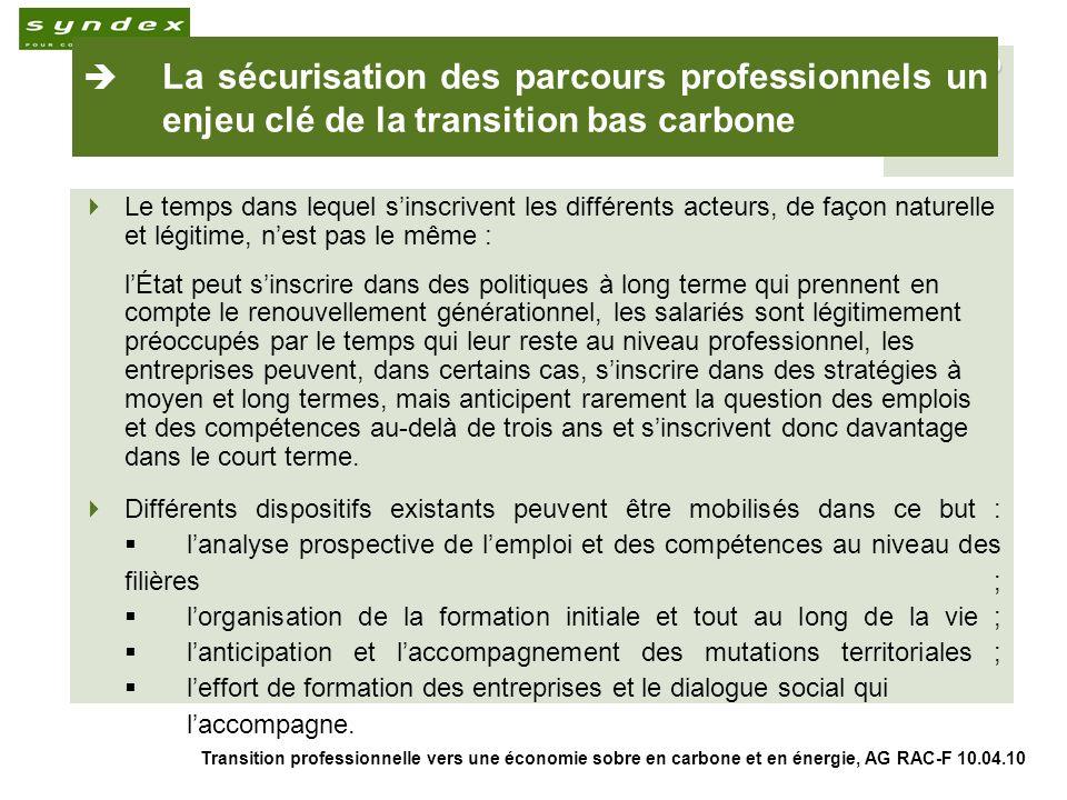 Transition professionnelle vers une économie sobre en carbone et en énergie, AG RAC-F 10.04.10 9 La sécurisation des parcours professionnels un enjeu clé de la transition bas carbone Le temps dans lequel sinscrivent les différents acteurs, de façon naturelle et légitime, nest pas le même : lÉtat peut sinscrire dans des politiques à long terme qui prennent en compte le renouvellement générationnel, les salariés sont légitimement préoccupés par le temps qui leur reste au niveau professionnel, les entreprises peuvent, dans certains cas, sinscrire dans des stratégies à moyen et long termes, mais anticipent rarement la question des emplois et des compétences au-delà de trois ans et sinscrivent donc davantage dans le court terme.