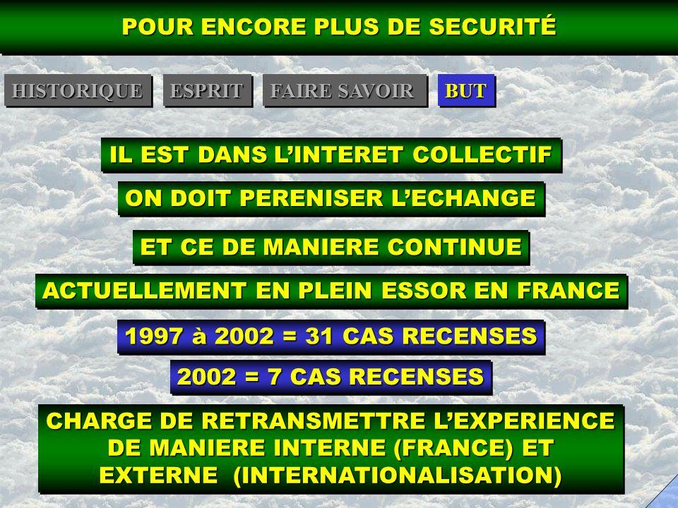 IL EST DANS LINTERET COLLECTIF ON DOIT PERENISER LECHANGE ET CE DE MANIERE CONTINUE ACTUELLEMENT EN PLEIN ESSOR EN FRANCE 1997 à 2002 = 31 CAS RECENSE