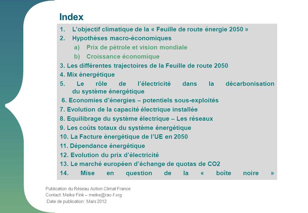 Index 1.Lobjectif climatique de la « Feuille de route énergie 2050 » 2.Hypothèses macro-économiques a)Prix de pétrole et vision mondiale b)Croissance