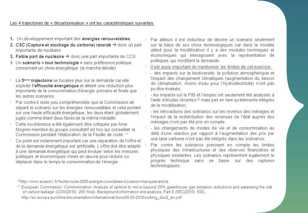 Scénarios tendanciels: Le scénario tendanciel prend seulement en compte les politiques et mesures adoptées à léchelle européenne jusqu en mars 2010.