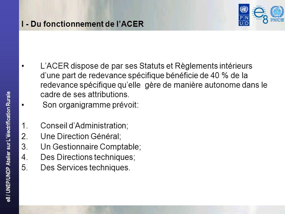 e8 / UNEP/UNDP Atelier sur L électrification Rurale I - Du fonctionnement de lACER LACER dispose de par ses Statuts et Règlements intérieurs dune part de redevance spécifique bénéficie de 40 % de la redevance spécifique quelle gère de manière autonome dans le cadre de ses attributions.