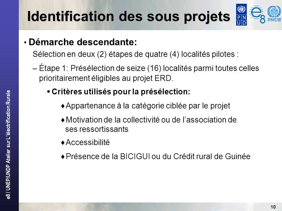 e8 / UNEP/UNDP Atelier sur L'électrification Rurale 10 Démarche descendante: Sélection en deux (2) étapes de quatre (4) localités pilotes : – Étape 1: