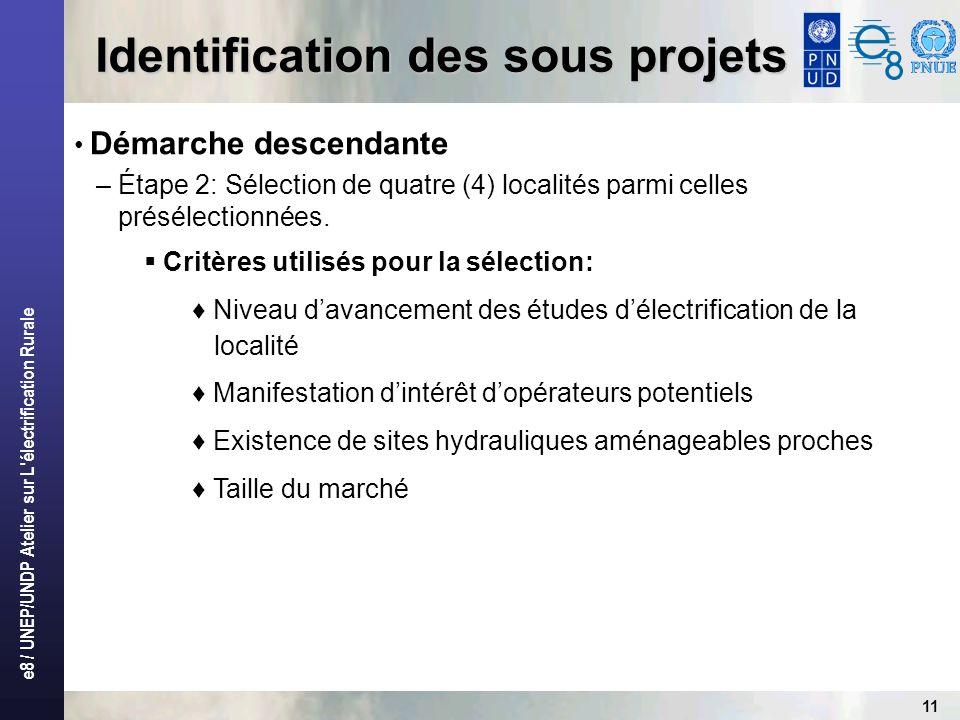 e8 / UNEP/UNDP Atelier sur L'électrification Rurale 11 Identification des sous projets Démarche descendante – Étape 2: Sélection de quatre (4) localit