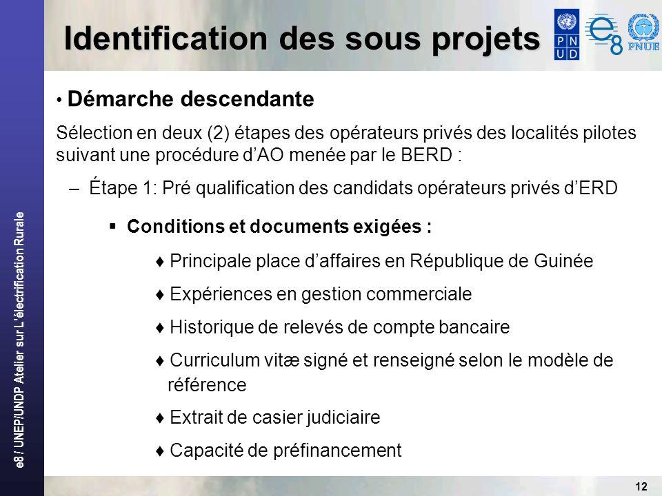 e8 / UNEP/UNDP Atelier sur L'électrification Rurale 12 Identification des sous projets Démarche descendante Sélection en deux (2) étapes des opérateur