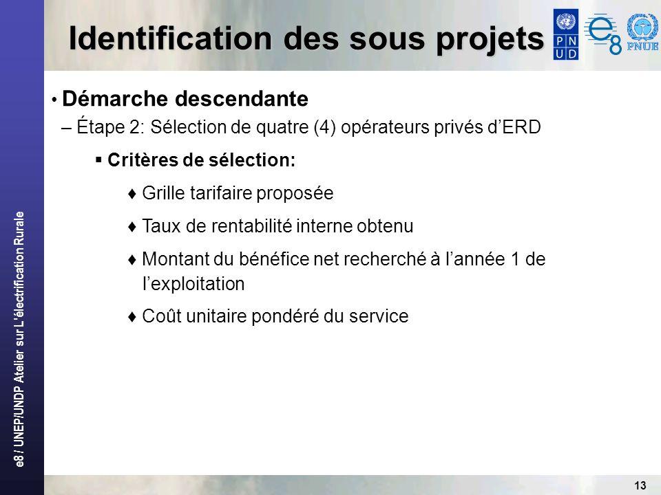 e8 / UNEP/UNDP Atelier sur L'électrification Rurale 13 Identification des sous projets Démarche descendante – Étape 2: Sélection de quatre (4) opérate