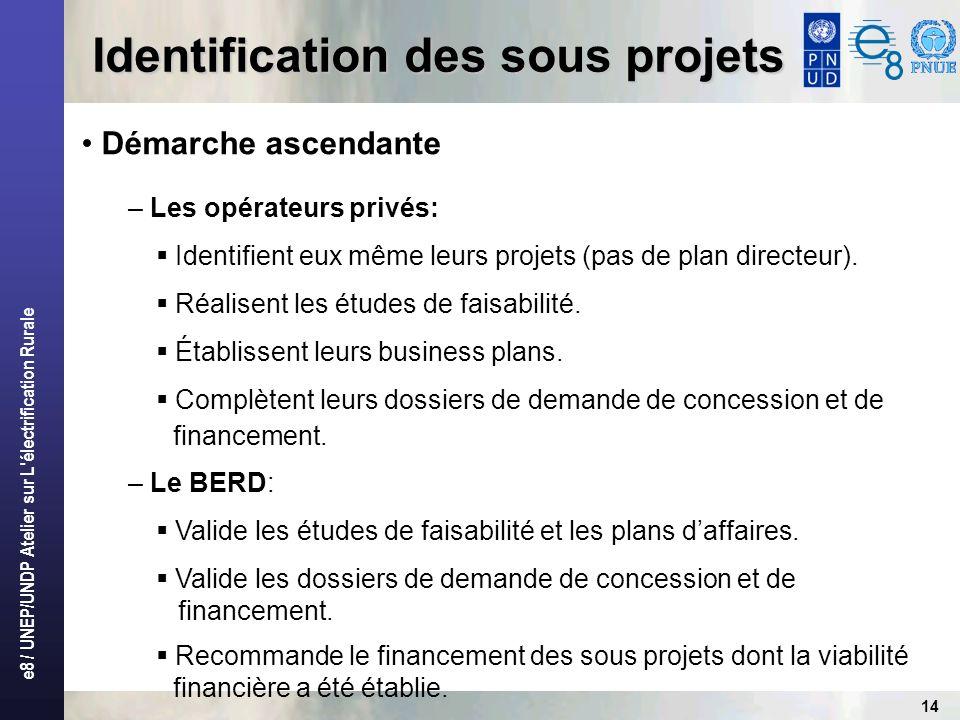 e8 / UNEP/UNDP Atelier sur L'électrification Rurale 14 Identification des sous projets Démarche ascendante – Les opérateurs privés: Identifient eux mê