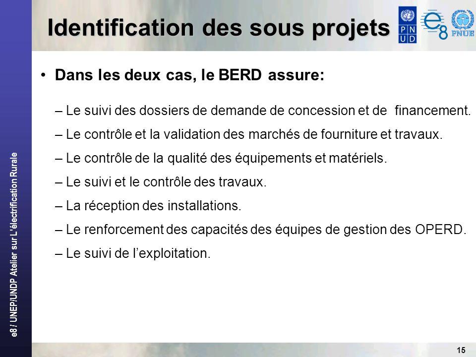 e8 / UNEP/UNDP Atelier sur L'électrification Rurale 15 Identification des sous projets Dans les deux cas, le BERD assure: – Le suivi des dossiers de d