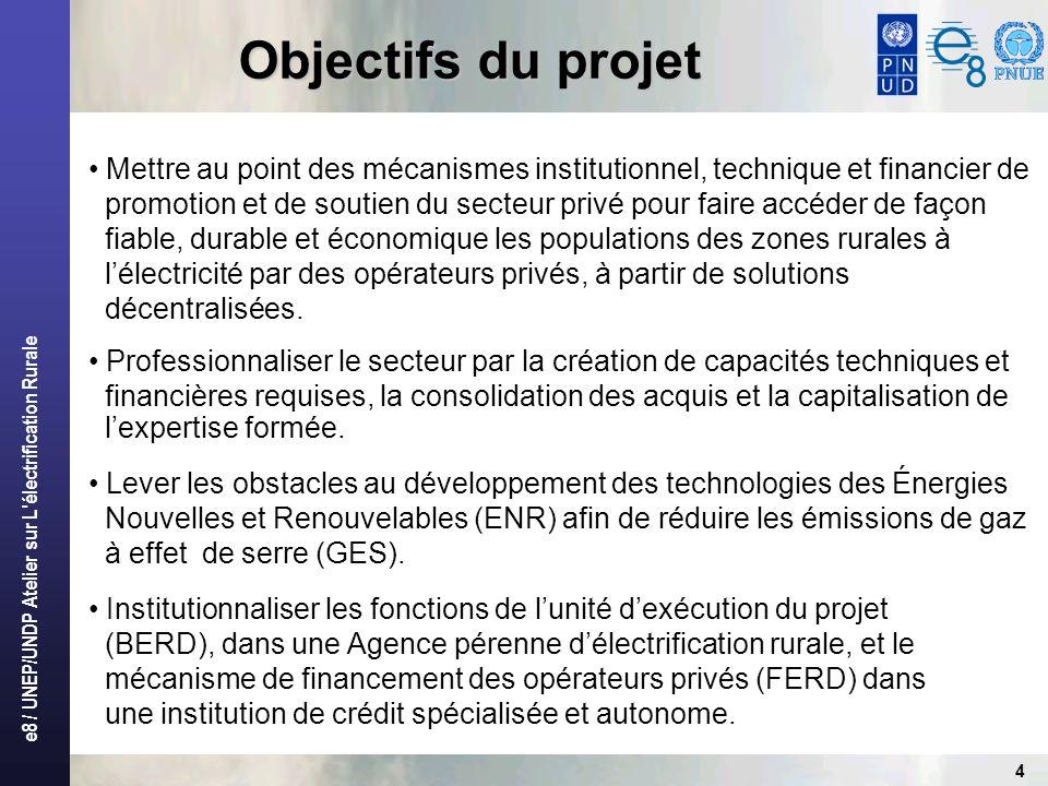 e8 / UNEP/UNDP Atelier sur L électrification Rurale 5 Principes directeurs du projet Le projet ERD est bâti sur quelques principes directeurs: – Au plan institutionnel Lélectrification rurale décentralisée est laissée à linitiative des opérateurs privés.