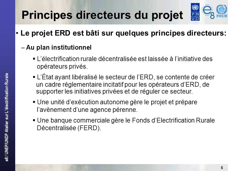 e8 / UNEP/UNDP Atelier sur L'électrification Rurale 5 Principes directeurs du projet Le projet ERD est bâti sur quelques principes directeurs: – Au pl