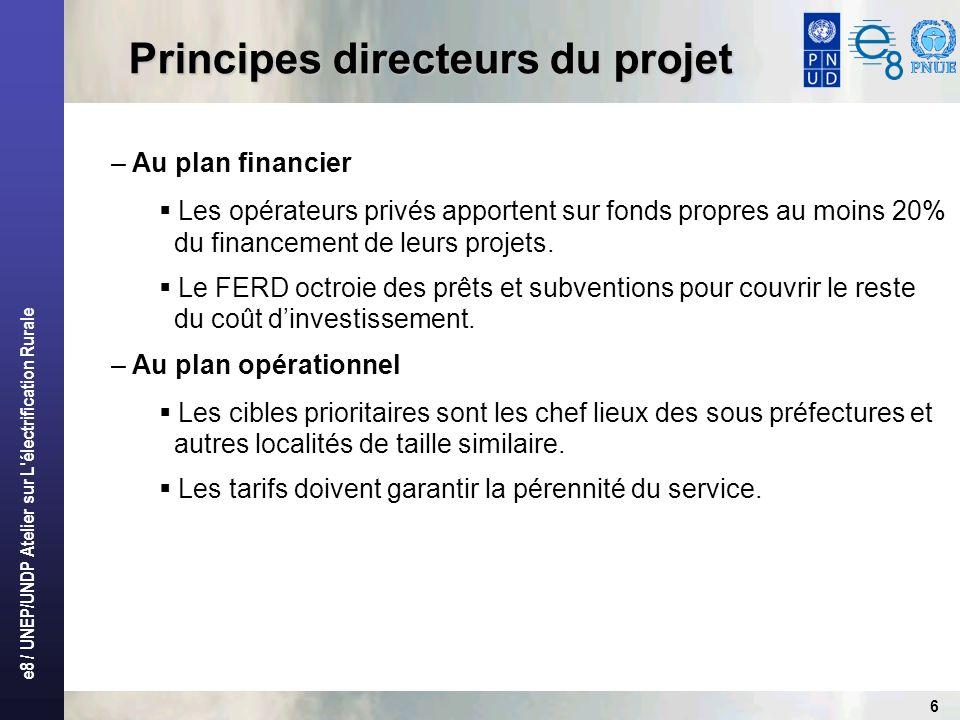 e8 / UNEP/UNDP Atelier sur L'électrification Rurale 6 Principes directeurs du projet – Au plan financier Les opérateurs privés apportent sur fonds pro
