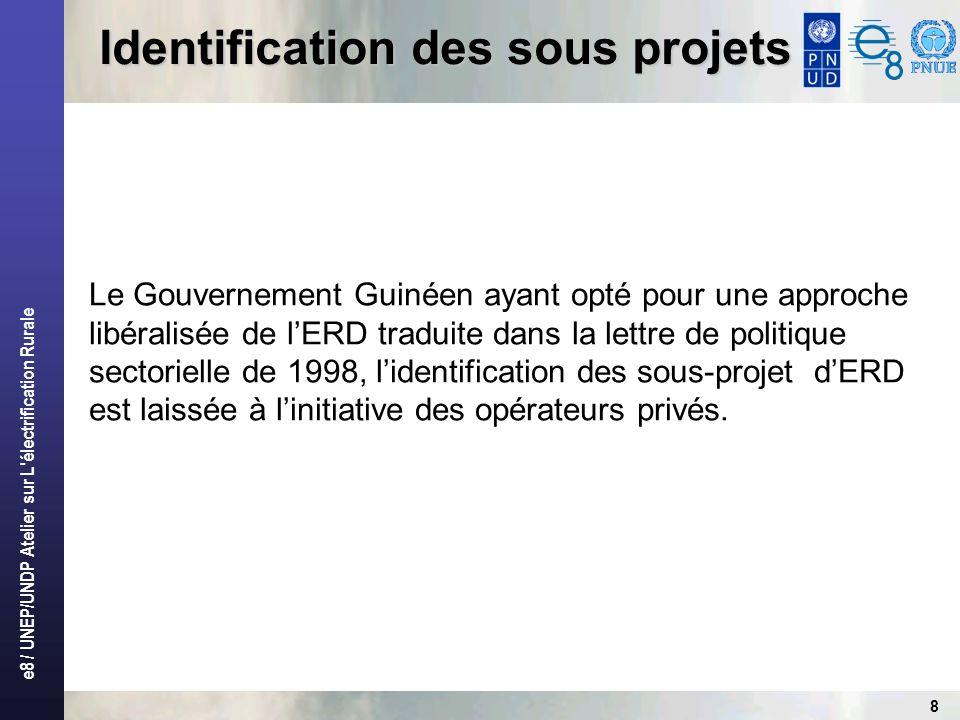 e8 / UNEP/UNDP Atelier sur L électrification Rurale 9 Identification des sous projets Dans lexécution du projet ERD, le BERD a utilisé deux démarches: Une démarche classique « descendante » à la phase de lancement par linitiation de quatre (4) opérations pilotes pour démontrer la viabilité des opérations dERD si elles sont entreprises de façon professionnelle.