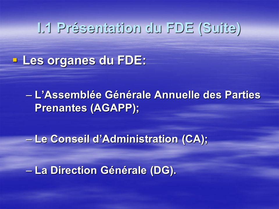 I.1 Présentation du FDE (Suite) Les organes du FDE: Les organes du FDE: –LAssemblée Générale Annuelle des Parties Prenantes (AGAPP); –Le Conseil dAdministration (CA); –La Direction Générale (DG).
