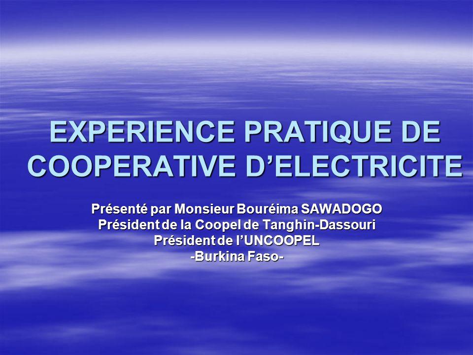 EXPERIENCE PRATIQUE DE COOPERATIVE DELECTRICITE Présenté par Monsieur Bouréima SAWADOGO Président de la Coopel de Tanghin-Dassouri Président de lUNCOOPEL -Burkina Faso-