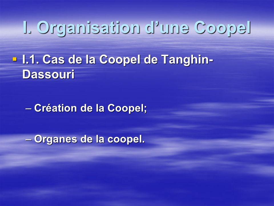 I. Organisation dune Coopel I.1. Cas de la Coopel de Tanghin- Dassouri I.1. Cas de la Coopel de Tanghin- Dassouri –Création de la Coopel; –Organes de