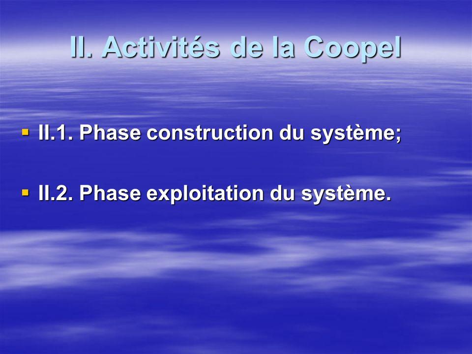 II. Activités de la Coopel II.1. Phase construction du système; II.1. Phase construction du système; II.2. Phase exploitation du système. II.2. Phase