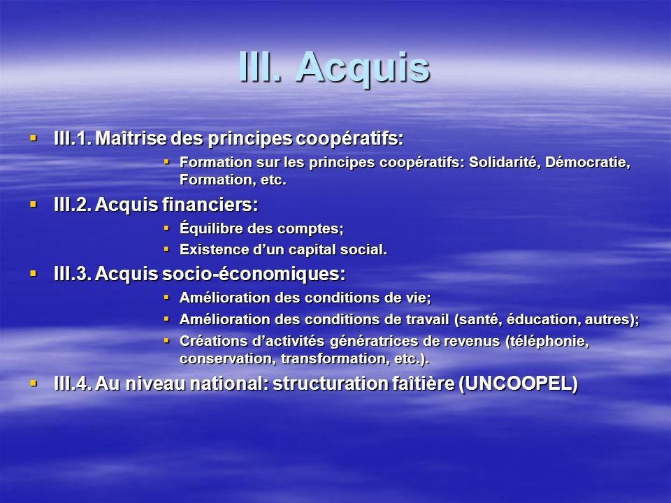 III. Acquis III.1. Maîtrise des principes coopératifs: III.1. Maîtrise des principes coopératifs: Formation sur les principes coopératifs: Solidarité,