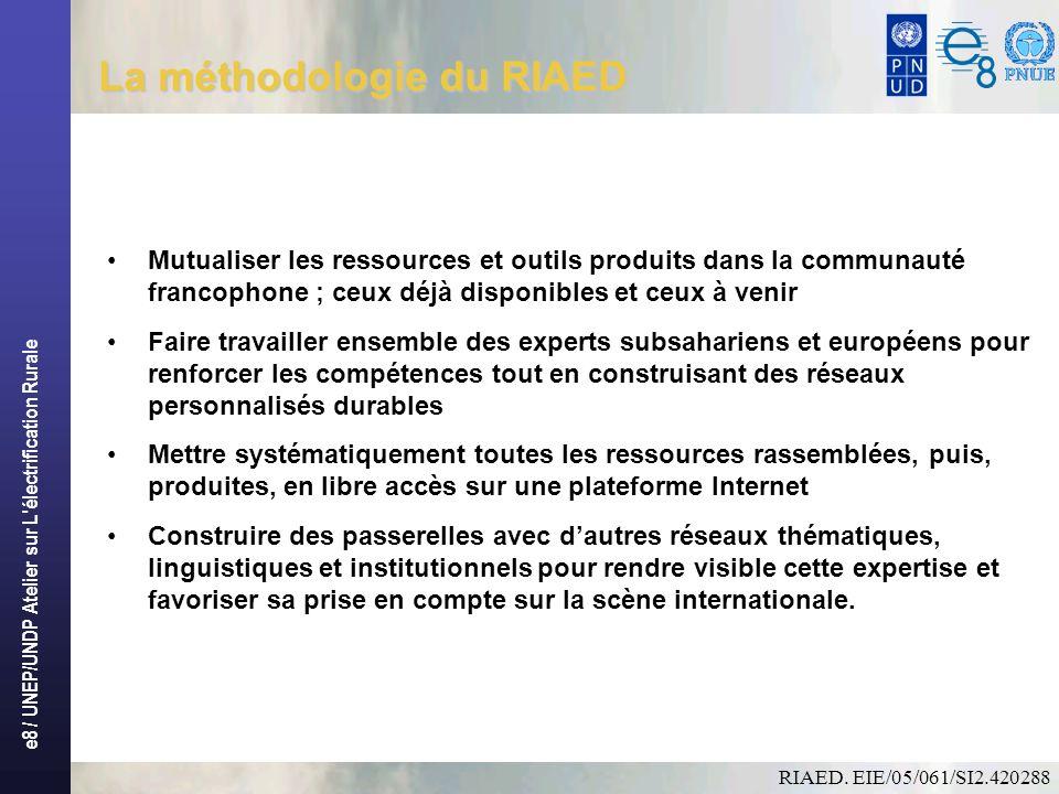 e8 / UNEP/UNDP Atelier sur L électrification Rurale Résultats attendus La mise en ligne dun portail Internet, avec des outils performants à lusage des professionnels et institutions ; Une série de services pour lamélioration de lexpertise : bases de données, offres demplois, appels à propositions, formations internationales, etc.